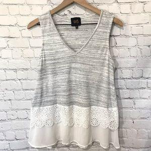 Anthropologie W5 Gray lace layered sleeveless tank
